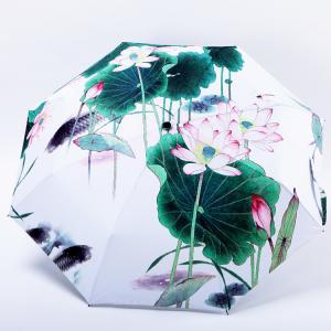 Wholesale Anti uv Oil Painting Umbrellas three folding Windproof Lady women Rain Umbrella from china suppliers