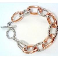 China (B-104)Designer Women's Fashion Jewelry Rose Gold Plated Oval Link Chain Bracelet on sale