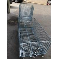 Wholesale Customized Galvanized Collapsible Wire Cage Conveyable With Casters 6mm Thickness from china suppliers