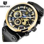 China Benyar Men Genuine Leather Band Calendar Quartz Wrist Watches BY-5141 for sale
