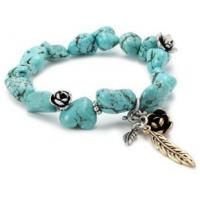 Wholesale promotion Lucky Brand Silver-Tone and Gold-Tone Flowers and Feathers Turquoise-Color Stretch Bracelet from china suppliers
