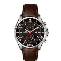 Wholesale Big Face Multifunction Wrist Watch Stainless Steel With Genuine Leather Strap from china suppliers