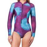 China One Piece Long Sleeve Surf Rash Guard Bikini Leg Printing UV Protection for sale