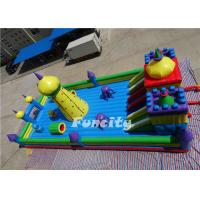 Wholesale 0.55 MM PVC Tarpaulin Double Stitching Inflatable Fun City For Kids 15 * 8 * 6.8 M from china suppliers