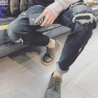 Wholesale Wax Coated Printed Male Super Skinny Jeans With Broken Holes Destroyed Pockets from china suppliers