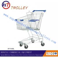 Wholesale Asian Style Steel Wire Retail Shopping Trolley With Wheels , Wire Shopping Carts from china suppliers