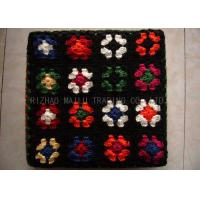 Wholesale Wool Crochet Chair Cover Black Background With Colorful Flowers , Knitted Stool Cover from china suppliers