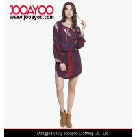 Wholesale Feather Printed Long Sleeves Spandex Waist Lined Skirt Casual Dress from china suppliers