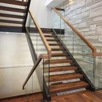 Wholesale Easy walk apartment staircase design with frameless glass railing from china suppliers