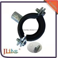 Wholesale Heavy Duty M8 + 10 Welding Cast Iron Pipe Clamps With Rubber Line Zinc Plated Steel from china suppliers