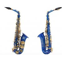Wholesale Professional handmade beautiful blue colored Alto Saxophone,Professional Eb Flower Saxphone from china suppliers