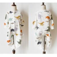 China Dinosaur Printed Muslin Baby Pajamas Easy Closure Absorbent No Fluorescent for sale