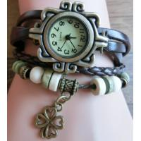 Wholesale Clover Pendant Design Belt Watch Leather Watch Wrapped Bracelet from china suppliers