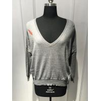 Wholesale Softness Ladies Deep V Neck Sweater Knitted Back Panel Leaf Printing from china suppliers