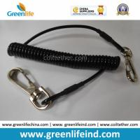 Wholesale Solid Black Strong Plastic PU Elastic Coil Tool Lanyard Tether from china suppliers
