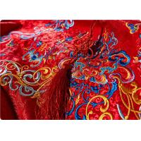 Wholesale High End Embroidered Fabrics , Red Chinese Wedding Dress Fabric from china suppliers