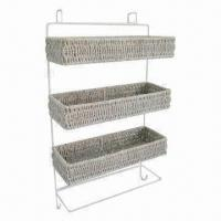 China Oblong Sea Grass Hanging Shoe Racks, Made of Plastic Rattan, Metal Frame and Fashionable style on sale