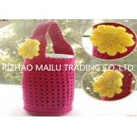 Wholesale Red hollow out cute hand crochet cup warmer with handles and vivid sunflower from china suppliers