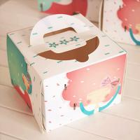 Wholesale Individual Window Take Away Cake Boxes Rigid Art Paper Pontone Offsent Printing from china suppliers