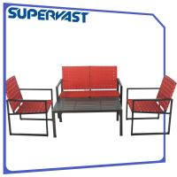 Wholesale Steel Outdoor Living 4 Piece Patio Set Strap Garden Patio Furniture Cross Weave Set from china suppliers
