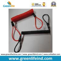 Wholesale Red/Black Custom Size Plastic PU Covered Wire Core Anti-theft Warning Coiled Cables from china suppliers
