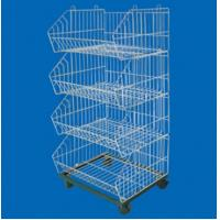 Wholesale 4 Tier Electroplate Zinc Steel Wire Wheeled Shopping Basket Trolleys / Super Market Racks from china suppliers