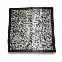 Wholesale Polyester Satin Scarf with Leopard Skin Prints, Measures 90 x 90cm from china suppliers