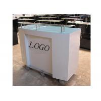 Wholesale HDF Baking Glossy White Retail Checkout Counter Floor Standing With Printed Logo from china suppliers
