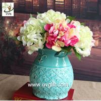 Wholesale UVG FHY24 wedding decoration materials cheap artificial hydrangea flower for indoor use from china suppliers
