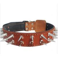 Wholesale hand-made cow leather pet collar with metal nail from china suppliers