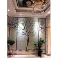 Wholesale Tree Shape Black Glass Background High Gloss / Interior Reeded Glass Wall Panels from china suppliers