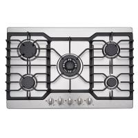 Wholesale Kitchen Stainless Steel Top 5 Ring Gas Hob / Gas Cooktop 76cm With Heavy Cast Iron from china suppliers
