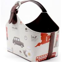 Wholesale England Cars Pattern Design PU Leather Printing Cardboard Leather Storage Holder Basket for Home Decoration from china suppliers