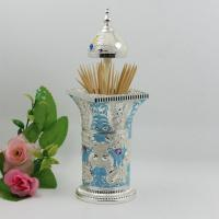 Wholesale Shinny Gifts Elegant Noble Columnar Style Carving Rose Flower Toothpick Holder from china suppliers