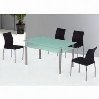 Wholesale Dining Table with Tempered Glass, 10mm Thickness, 6mm Shelf and Stainless Leg from china suppliers