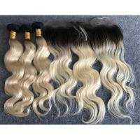 "Wholesale Last Long Russian Ombre Human Hair Extensions Body Wave with Ear to Ear 13""x4"" Lace Frontal from china suppliers"
