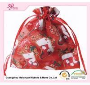 Wholesale Red Organza ribbon Custom Drawstring bags 12 * 15cm Silk screen Surface Handling from china suppliers