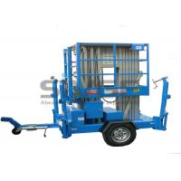 Wholesale Aluminium Alloy Hydraulic Work Platform , 10m Dual Mast Trailer Mounted Boom Lift from china suppliers