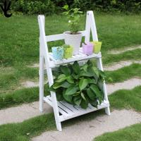 Wholesale Eco - Friendly Outdoor Patio Shelves , White Color 2 Tier Wooden Plant Stand from china suppliers
