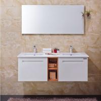 Wholesale Villa Open Door Bathroom Cabinet Furniture White PVC With Double Sink / Shelf from china suppliers