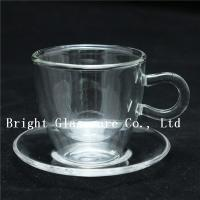 Wholesale clear double wall thermo glasses, double wall coffee glass, tea set glass with saucer from china suppliers