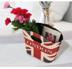 Wholesale British Style Storage Basket PU Leather Handles Box Holder Foldable Desk Organizers Hanging Basket from china suppliers