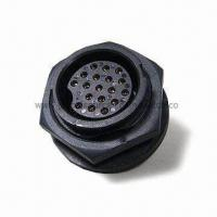 Buy cheap 12V 18-pin Female Water-resistant Mini Din Connector with Bayonet Lock/Circular Flange/Solder Type from wholesalers