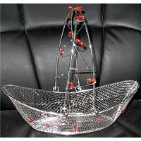Wholesale WIRE MESH BOAT-SHAPED BASKET IN SILVER PLATED, DISASSEMBLED HANDLE from china suppliers