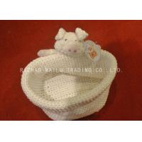 Wholesale Creme Knitted Storage Baskets Beanie Crochet Storage Containers With Dogs Handles from china suppliers