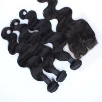Wholesale Body Wave Natural Color  brazilian hair virgin hair bundles with lace closure from china suppliers