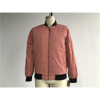 Male Dusty Pink Polyester Bomber Puffer Jacket With Contrast Rib Detail TW78442