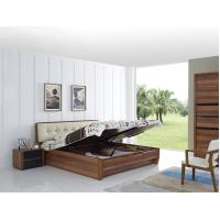 Wholesale Cheap FSC Certificated Good quality Upholstery headboard bed with wood storage bottom and Sliding door wardrobe from china suppliers