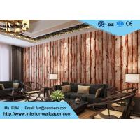 Wholesale Brown Wood Print Pattern Modern Removable Wallpaper for Living Room , PVC Materials from china suppliers