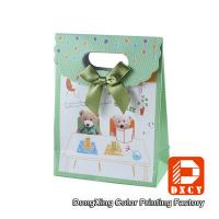 Wholesale Cute Green Paper Gift Bags Velcro Matt Lamination Bow Tie Decoration Style from china suppliers